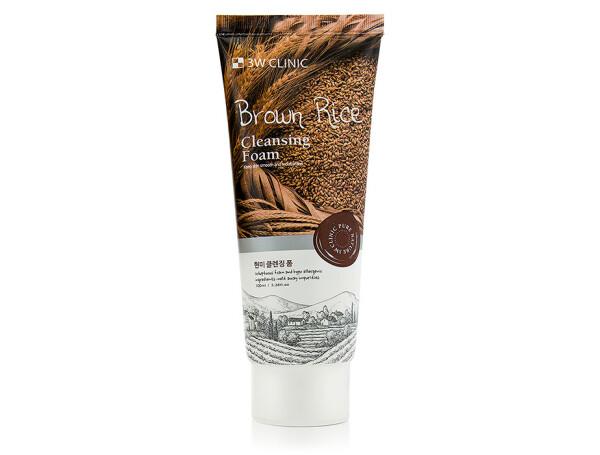 Пенка для умывания с экстрактом коричневого риса 3W Clinic Brown Rice Cleansing Foam, 100мл - Фото №1
