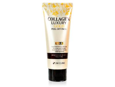 Золотая омолаживающая маска-плёнка 3W Clinic Collagen Luxury Gold Peel Off Pack, 100мл - Фото №1