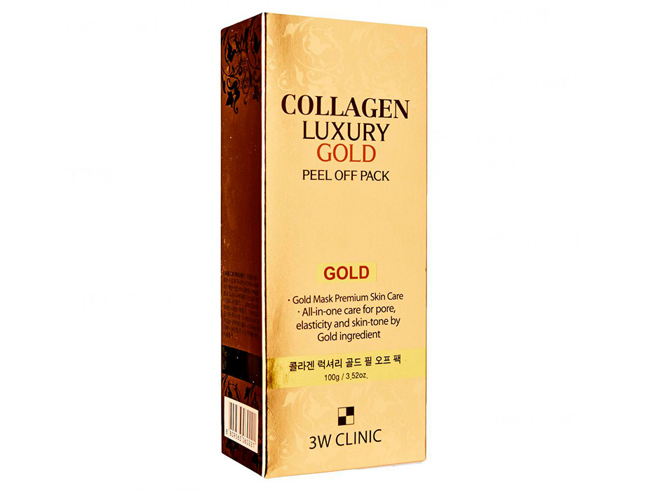 Золотая омолаживающая маска-плёнка 3W Clinic Collagen Luxury Gold Peel Off Pack, 100мл - Фото №3