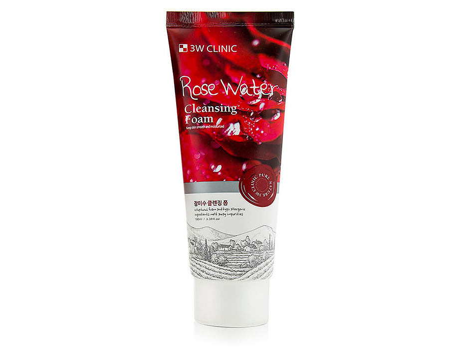 Пенка для умывания Розовая Вода 3W Clinic Rose Water Cleansing Foam, 100мл