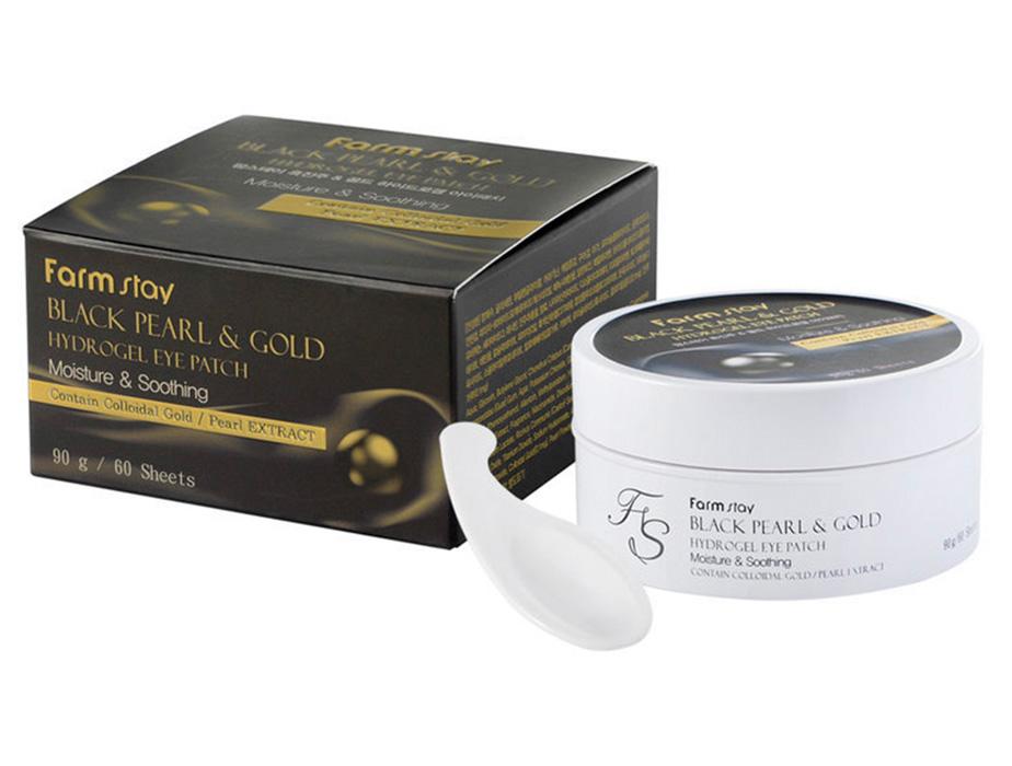 Гидрогелевые патчи под глаза с черным жемчугом и золотом FarmStay Black Pearl Gold Hydrogel Eye Patch, 60шт - Фото №3