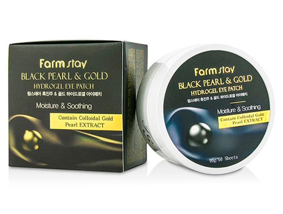 Гидрогелевые патчи под глаза с черным жемчугом и золотом FarmStay Black Pearl Gold Hydrogel Eye Patch, 60шт - Фото №4