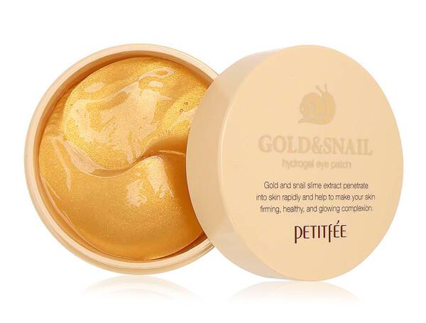 Гидрогелевые патчи под глаза с золотом и улиточным муцином Petitfee Gold & Snail Hydrogel Eye Patch, 60шт - Фото №1