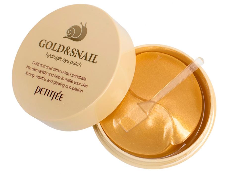 Гидрогелевые патчи под глаза с золотом и улиточным муцином Petitfee Gold & Snail Hydrogel Eye Patch, 60шт - Фото №2