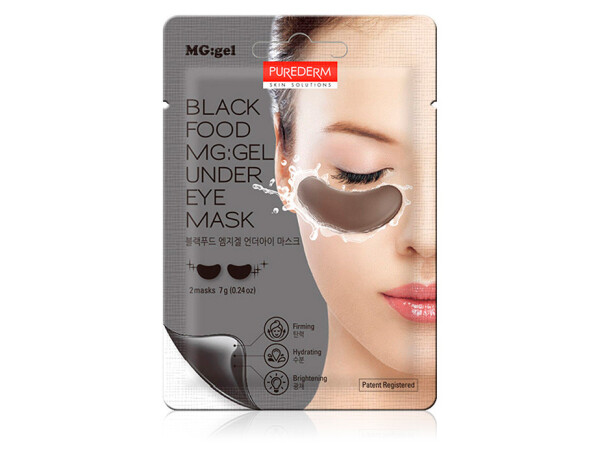 Гидрогелевые патчи под глаза Purederm Black Food MG:Gel Under Eye Mask, 2шт - Фото №1