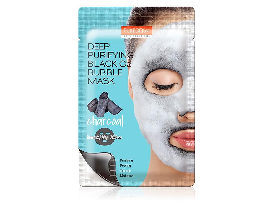 Глубоко очищающая кислородная угольная маска для лица Purederm Deep Purifying Black O2 Bubble Mask Charcoal