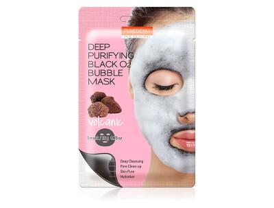 Глубоко очищающая кислородная вулканическая маска для лица Purederm Deep Purifying Black O2 Bubble Mask Volcanic