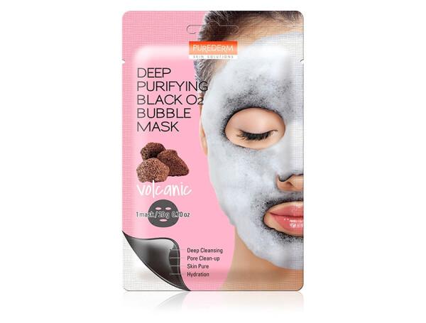 Глубоко очищающая кислородная вулканическая маска для лица Purederm Deep Purifying Black O2 Bubble Mask Volcanic - Фото №1