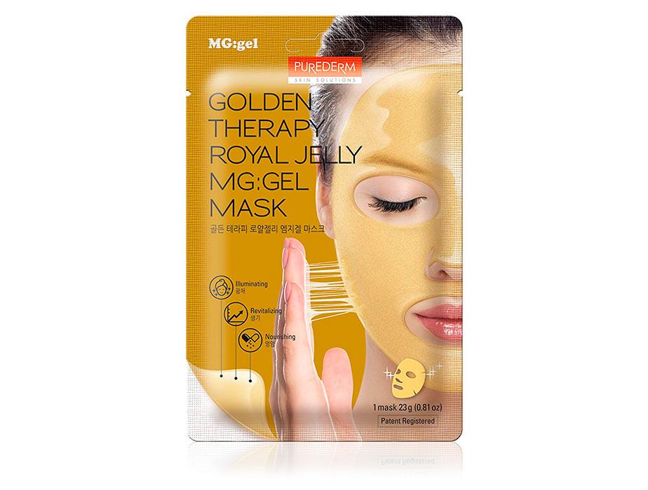 Гидрогелевая маска для лица с маточным молочком и золотом Purederm Golden Therapy Royal Jelly MG:Gel Mask