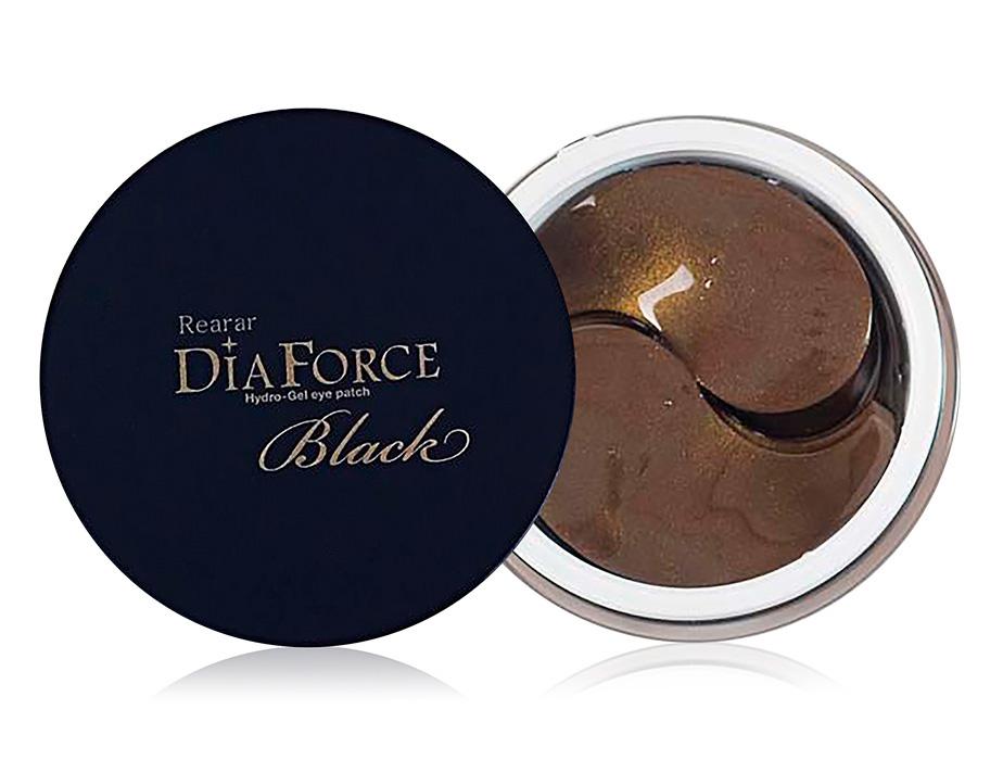 Большие гидрогелевые патчи под глаза с золотом и черным жемчугом Rearar Dia Force Hydro-Gel Eye Patch Black, 60шт - Фото №1