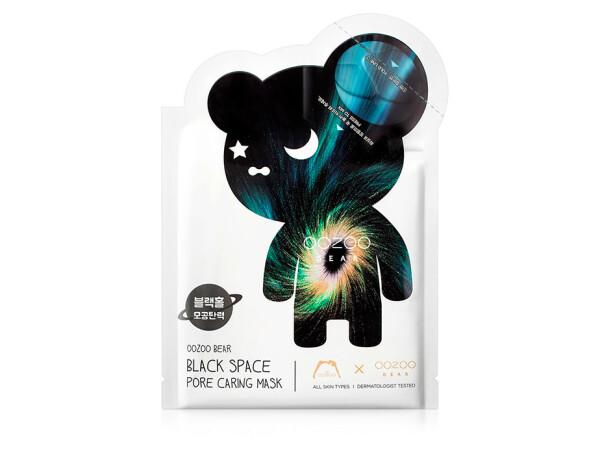 Маска для лица для сужения пор The Oozoo Bear Black Space Pore Caring Mask - Фото №1