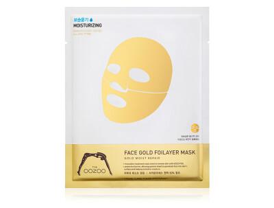 Золотая экспресс-маска для лица с термоэффектом The Oozoo Face Gold Foilayer Mask - Фото №1