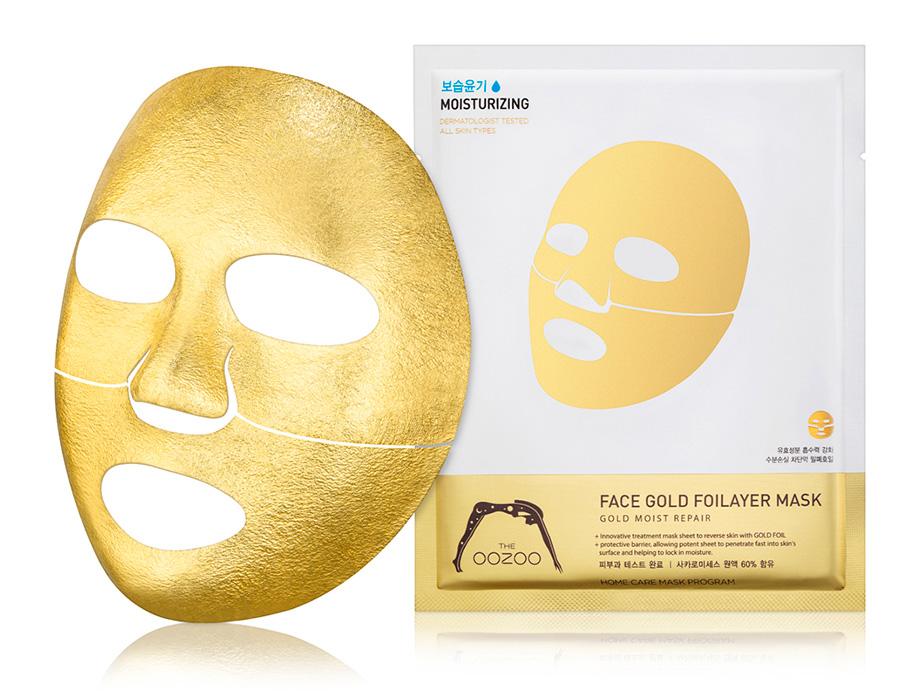 Золотая экспресс-маска для лица с термоэффектом The Oozoo Face Gold Foilayer Mask - Фото №2