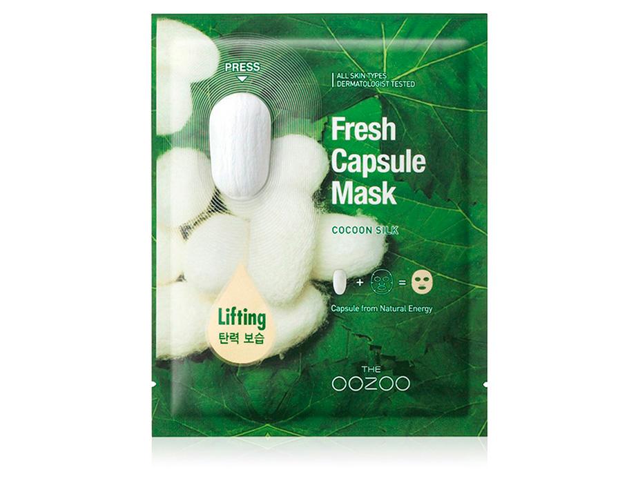 Маска для лица с капсулой-активатором с экстрактом шелка для лифтинга и увлажнения The Oozoo Fresh Capsule Mask Cocoon Silk