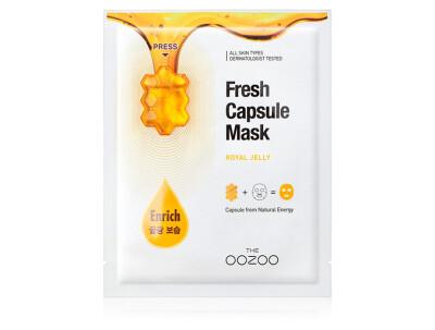 Маска для лица с капсулой-активатором с маточным молочком для сияния и питания The Oozoo Fresh Capsule Mask Royal Jelly - Фото №1