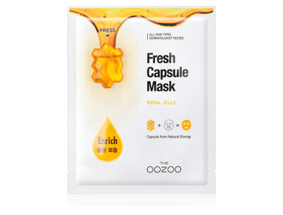Маска для лица с капсулой-активатором с маточным молочком для сияния и питания The Oozoo Fresh Capsule Mask Royal Jelly