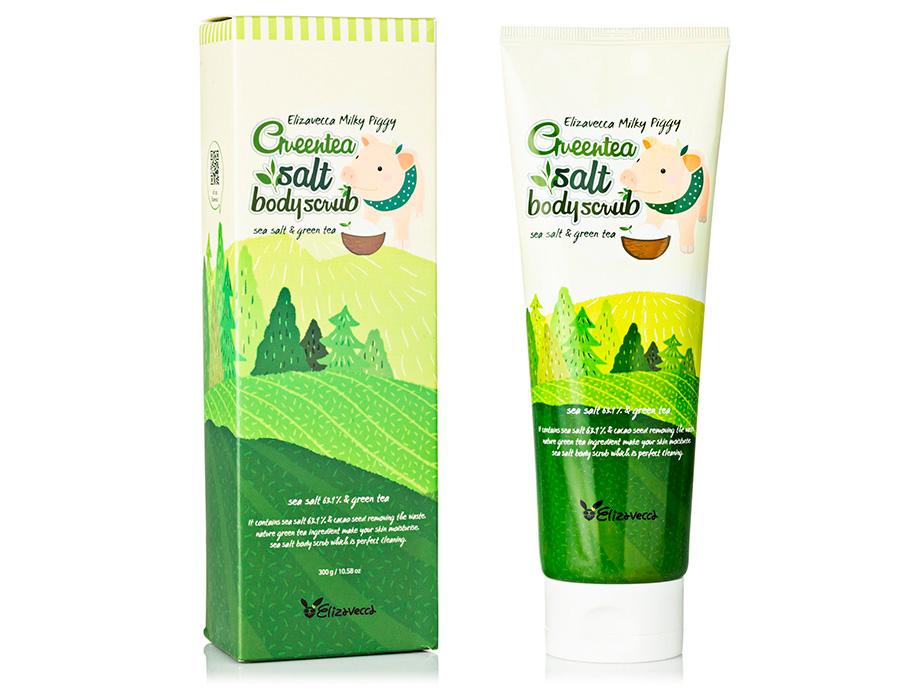 Скраб для тела с экстрактом зеленого чая Elizavecca Body Care Milky Piggy Green Tea Salt Body Scrub, 300мл - Фото №2