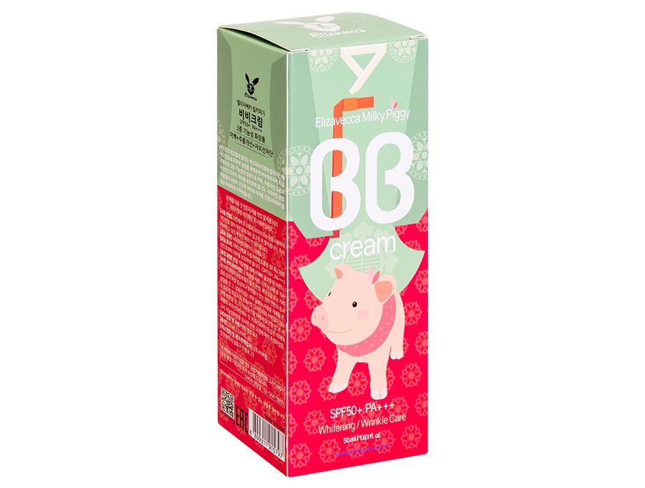 Увлажняющий BB крем с гиалуроновой кислотой Elizavecca Milky Piggy BB Cream SPF 50+, 50мл - Фото №4