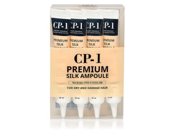 Несмываемая сыворотка для волос с протеинами шелка Esthetic House CP-1 Premium Silk Ampoule (набор), 4шт по 20мл - Фото №1