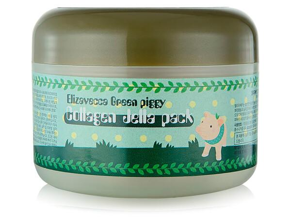Высококонцентрированная коллагеновая маска для упругости и эластичности кожи лица Elizavecca Green Piggy Collagen Jella Pack, 100г - Фото №1
