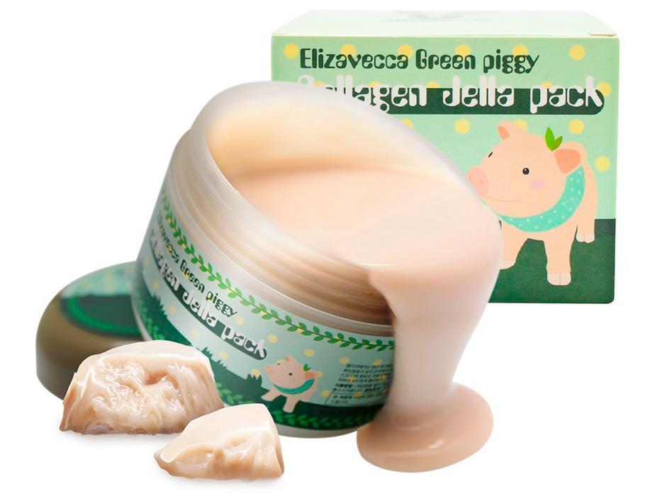 Высококонцентрированная коллагеновая маска для упругости и эластичности кожи лица Elizavecca Green Piggy Collagen Jella Pack, 100г - Фото №2