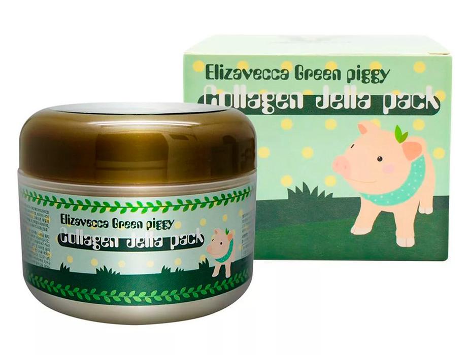 Высококонцентрированная коллагеновая маска для упругости и эластичности кожи лица Elizavecca Green Piggy Collagen Jella Pack, 100г - Фото №3