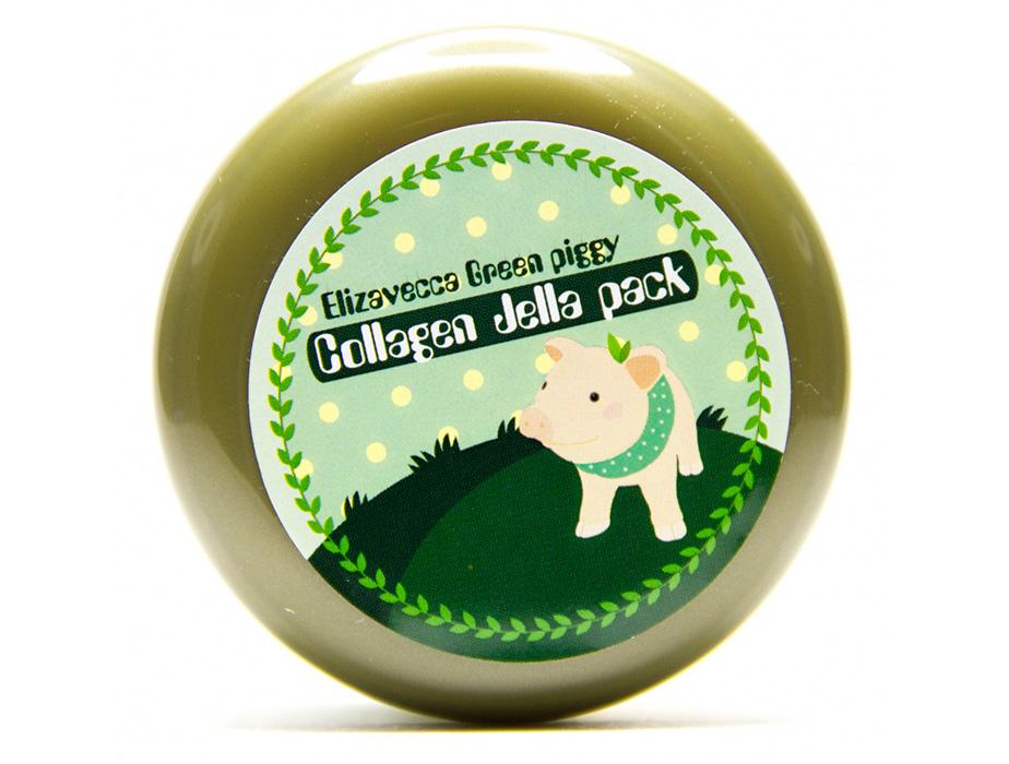 Высококонцентрированная коллагеновая маска для упругости и эластичности кожи лица Elizavecca Green Piggy Collagen Jella Pack, 100г - Фото №4