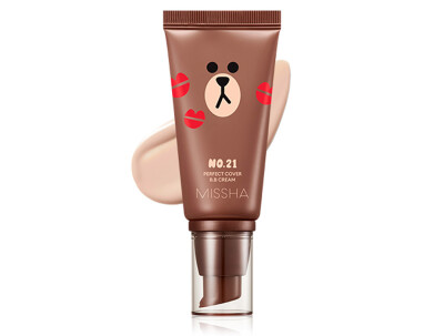 Увлажняющий и матирующий BB крем для лица Missha Perfect Cover BB Cream SPF 42 Line Friends Edition №21, 50мл - Фото №1