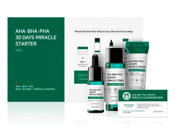 Набор из 4 миниатюр кислотных средств для проблемной кожи Some By Mi AHA-BHA-PHA 30 Days Miracle Starter - Фото №1