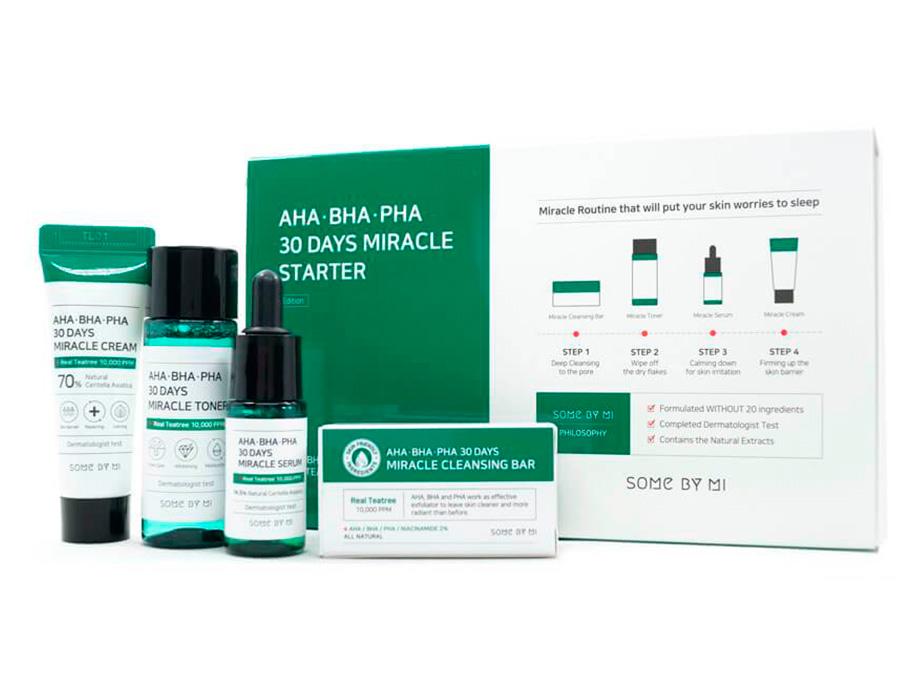 Набор из 4 миниатюр кислотных средств для проблемной кожи Some By Mi AHA-BHA-PHA 30 Days Miracle Starter - Фото №3