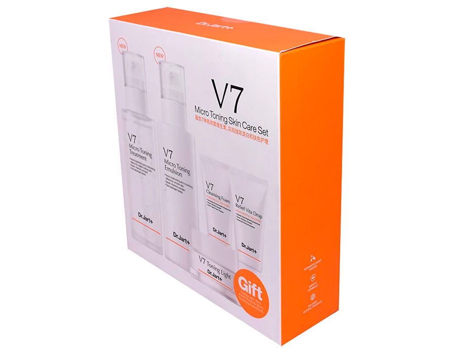 Набор для ухода за кожей лица с пяти средств Dr. Jart+ V7 Micro Toning Skin Care Set - Фото №3