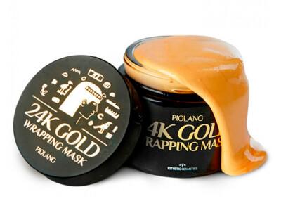 Маска-пленка для лица с 24 каратным золотом Esthetic House Piolang 24K Gold Wrapping Mask, 80мл - Фото №1