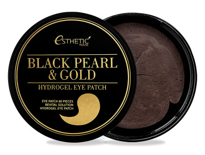 Гидрогелевые патчи под глаза с черным жемчугом и золотом Esthetic House Black Pearl & Gold Hydrogel Eye Patch, 60шт - Фото №1