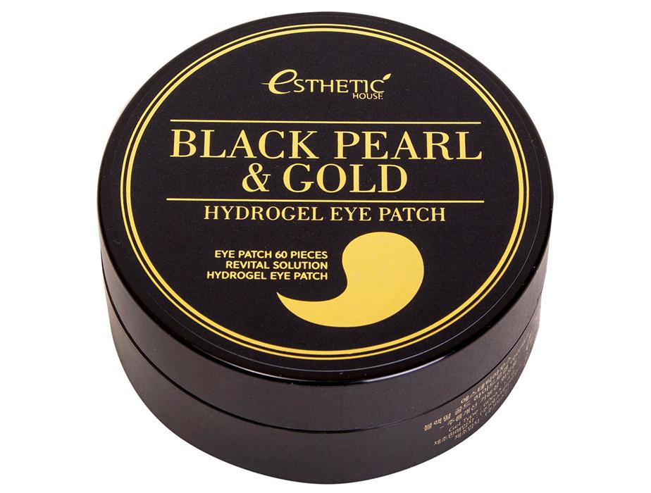 Гидрогелевые патчи под глаза с черным жемчугом и золотом Esthetic House Black Pearl & Gold Hydrogel Eye Patch, 60шт - Фото №2