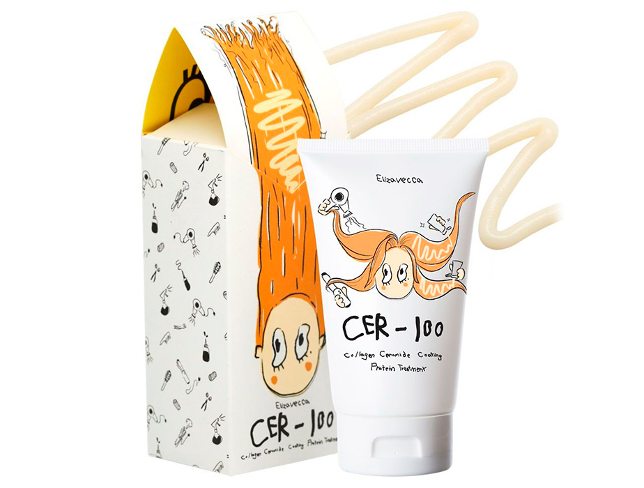 Коллагеновая маска для волос Elizavecca Milky Piggy Cer-100 Collagen Ceramide Coating Protein Treatment, 100мл - Фото №2