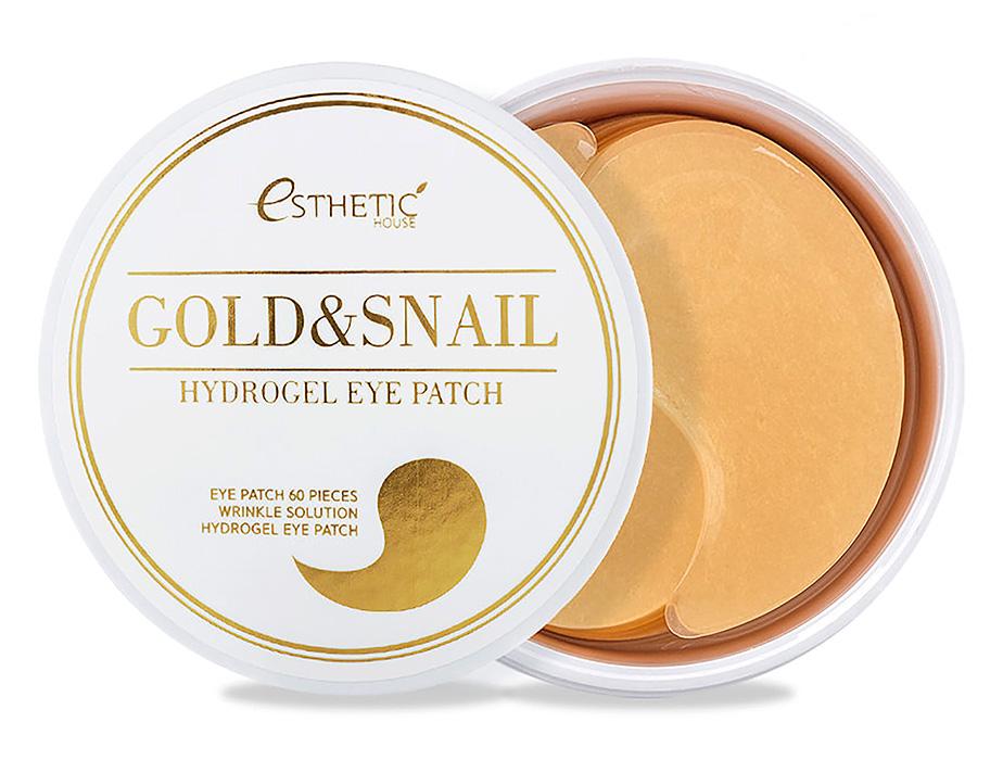 Гидрогелевые патчи под глаза с золотом и улиточным муцином Esthetic House Gold & Snail Hydrogel Eye Patch, 60шт - Фото №1