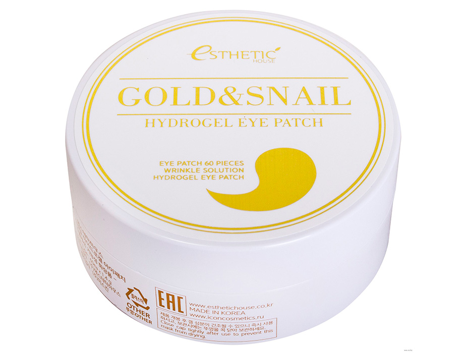 Гидрогелевые патчи под глаза с золотом и улиточным муцином Esthetic House Gold & Snail Hydrogel Eye Patch, 60шт - Фото №2