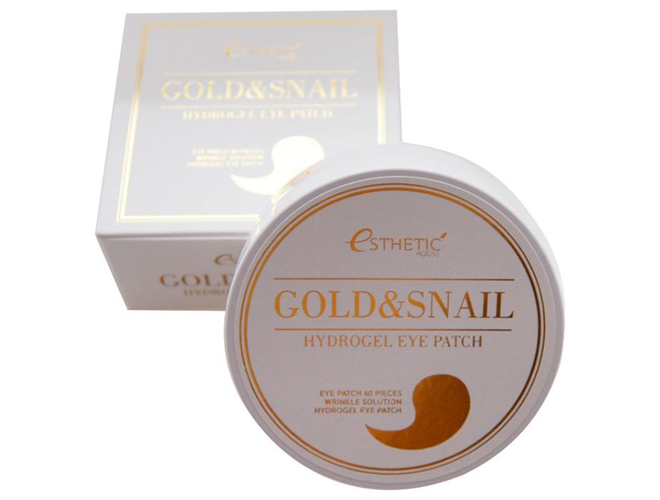 Гидрогелевые патчи под глаза с золотом и улиточным муцином Esthetic House Gold & Snail Hydrogel Eye Patch, 60шт - Фото №3
