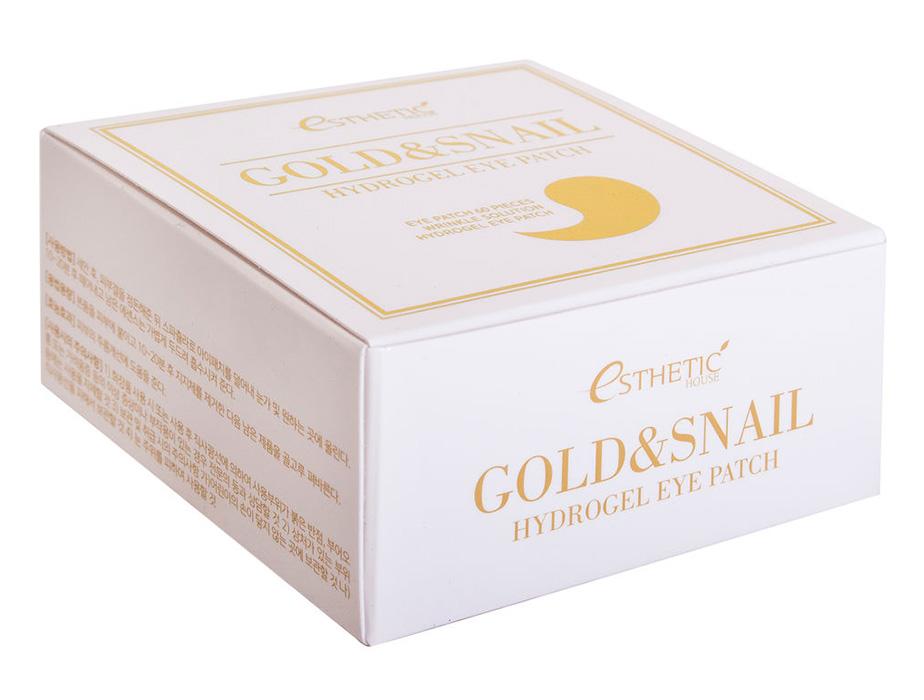 Гидрогелевые патчи под глаза с золотом и улиточным муцином Esthetic House Gold & Snail Hydrogel Eye Patch, 60шт - Фото №4