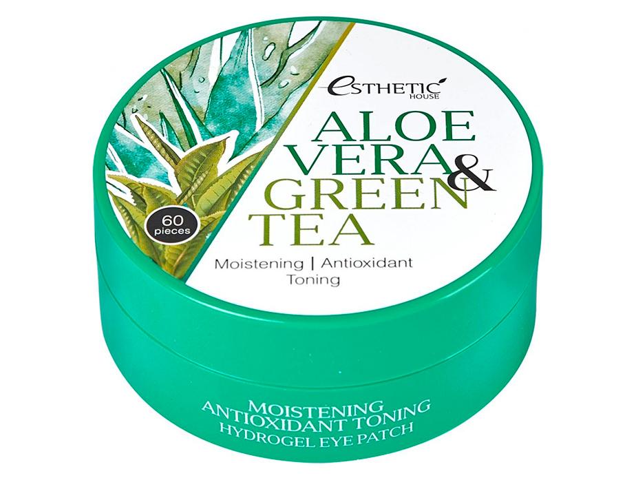 Гидрогелевые патчи под глаза с алоэ вера и зеленым чаем Esthetic House Aloe Vera & Green Tea Hydrogel Eye Patch, 60шт - Фото №2