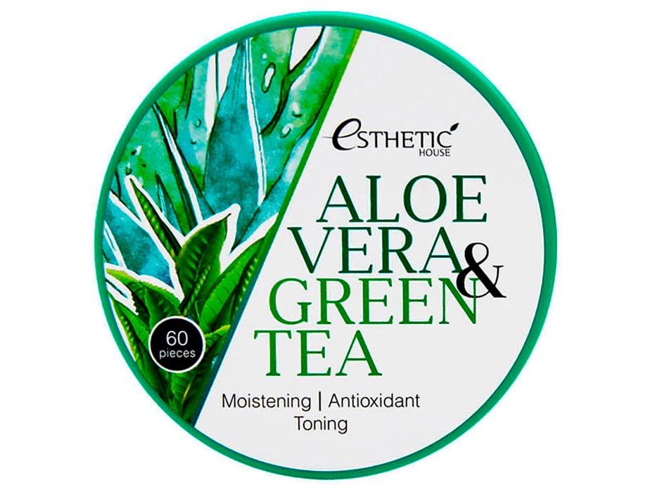 Гидрогелевые патчи под глаза с алоэ вера и зеленым чаем Esthetic House Aloe Vera & Green Tea Hydrogel Eye Patch, 60шт - Фото №3