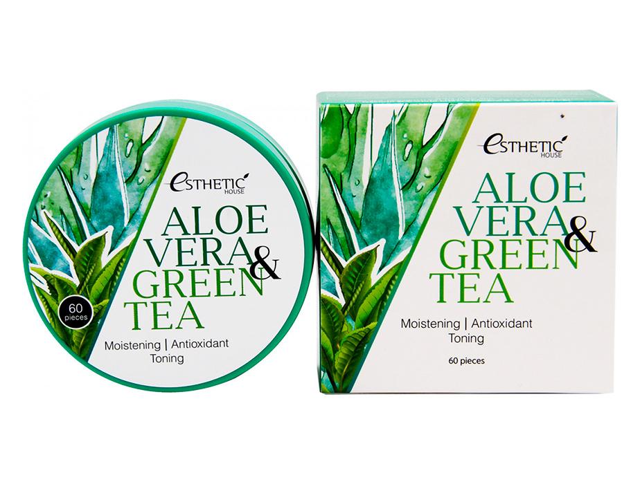 Гидрогелевые патчи под глаза с алоэ вера и зеленым чаем Esthetic House Aloe Vera & Green Tea Hydrogel Eye Patch, 60шт - Фото №4