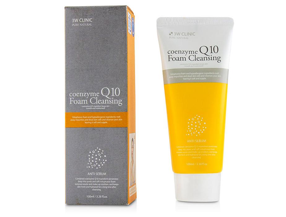 Очищающая пенка для лица с коэнзимом Q10 3W Clinic Coenzyme Q10 Foam Cleansing Anti Sebum, 100мл - Фото №2