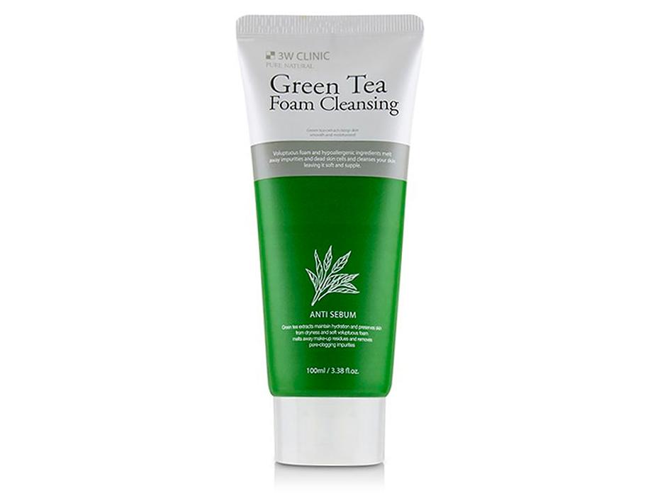 Очищающая пенка для лица с зеленым чаем 3W Clinic Green Tea Foam Cleansing Anti Sebum, 100мл - Фото №1