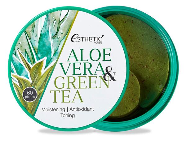 Гидрогелевые патчи под глаза с алоэ вера и зеленым чаем Esthetic House Aloe Vera & Green Tea Hydrogel Eye Patch, 60шт - Фото №1