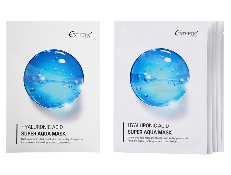 Увлажняющая маска для лица с гиалуроновой кислотой Esthetic House Hyaluronic Acid Super Aqua Mask, 5шт - Фото №2