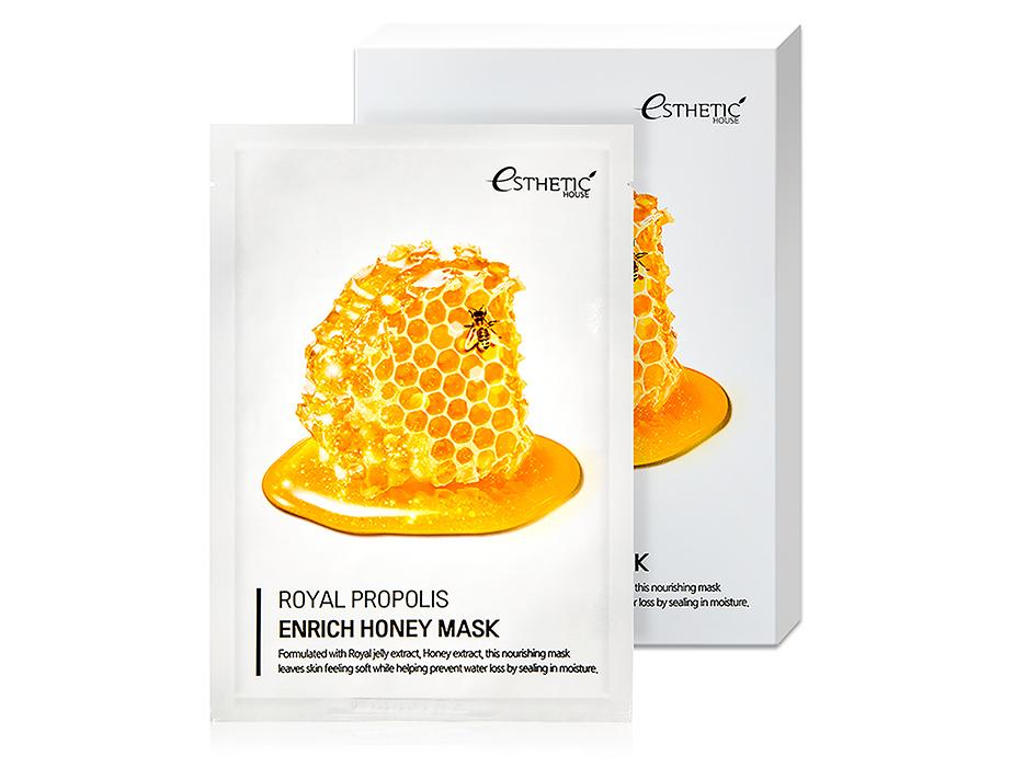 Питательная маска с маточным молочком, прополисом и медом Esthetic House Royal Propolis Enrich Honey Mask, 5шт
