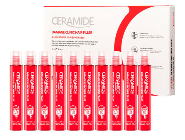 Восстанавливающий филлер для волос с керамидами FarmStay Ceramide Damage Clinic Hair Filler, 10шт по 13мл - Фото №1