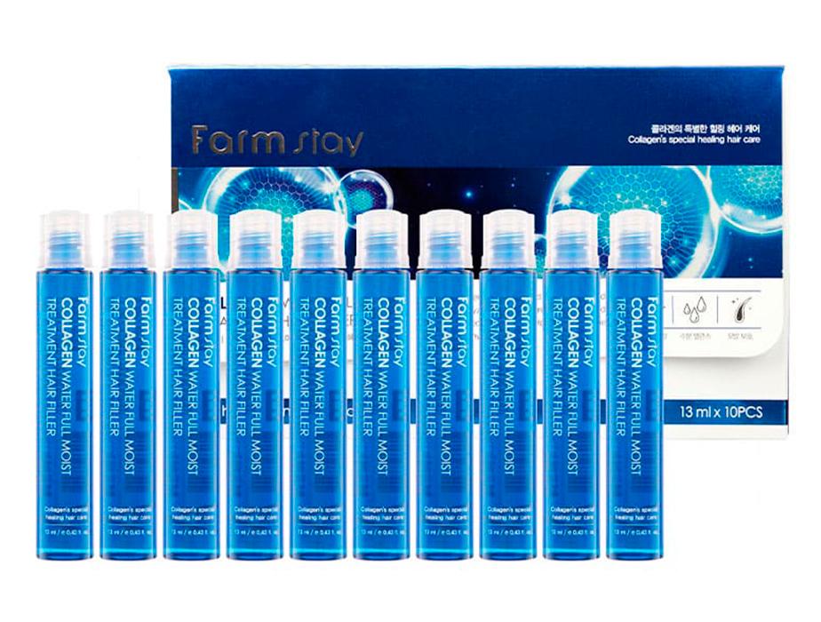 Увлажняющий филлер с коллагеном для волос FarmStay Collagen Water Full Moist Treatment Hair Filler, 10шт по 13мл - Фото №1