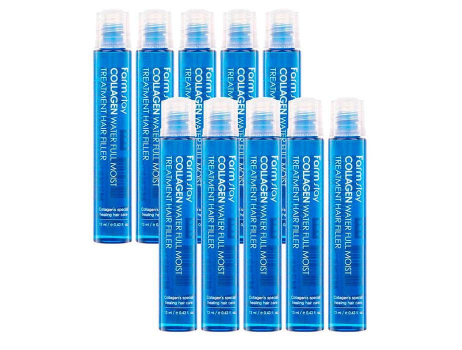 Увлажняющий филлер с коллагеном для волос FarmStay Collagen Water Full Moist Treatment Hair Filler, 10шт по 13мл - Фото №2